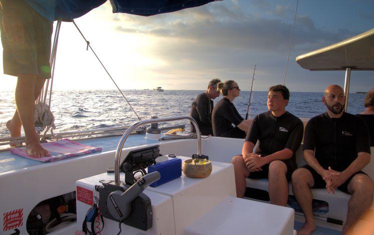 Crew on the catamaran